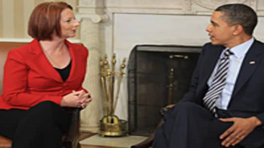 Obama Meets With Australian PM Julia Gillard At The White House.
