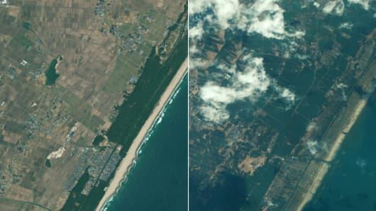 The before half-meter resolution satellite image of Sendai, Japan was taken by the GeoEye-1 satellite on Nov. 15, 2009.
