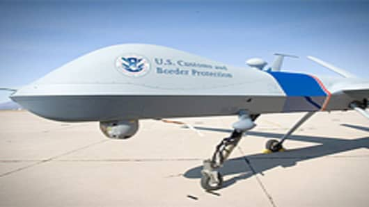 U.S. Customs and Border Protection (CBP) unmanned aerial vehicle of the CBP Air and Marine Unmanned Aircraft System.