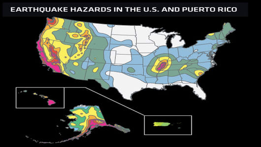 This map shows relative shaking hazards in the United States and Puerto Rico. During  50-year time period, the probability of strong shaking increases from very low (white), to moderate (blue, green and yellow), to high (orange, pink, and red). Map not to scale.