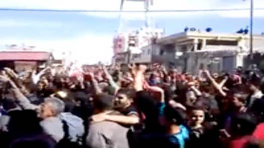 This footage purportedly show protests in the southwestern town of Daraa on 18th March 2011.