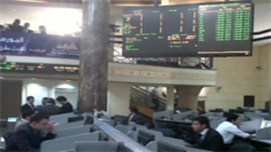 Inside the EgyptStock Exchange just before its reopening.