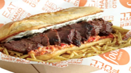 Red, White and Blue Steak Sandwich.