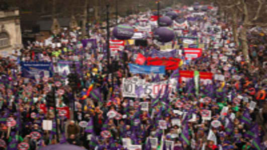 A mass march in protest at government cuts sets off from Embankment on March 26, 2011 in London, England.