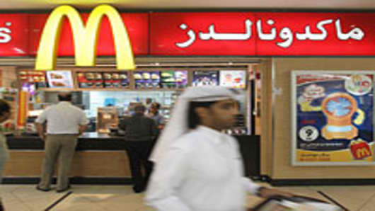 A McDonald's fast food restaurant in the City Center shopping mall in West Bay district in Doha, Qatar.