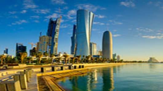 The Palm Tower, Al Bidda Tower, and The Burj Qatar in Doha, Qatar.