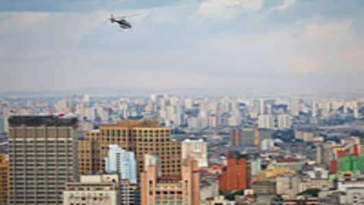 Helicopter flying over Sao Paolo