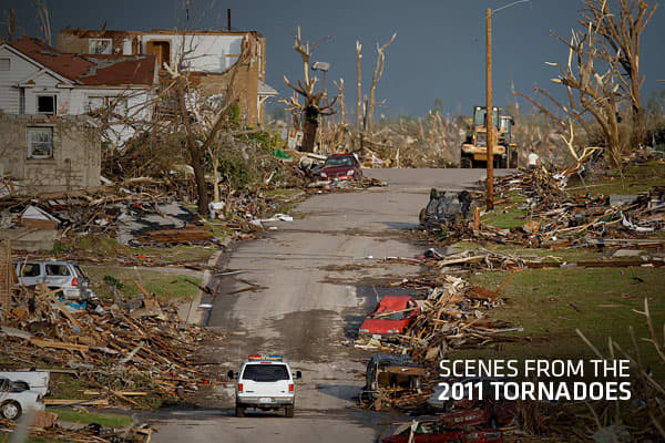 2011 has been a tough year for US residents in areas affected by tornadoes. Most recently, Joplin, Missouri was hit by a massive tornado that is thought to be the deadliest in 60 years. Earlier in the year, dozens of massive tornadoes tore a town-flattening streak across the Southeastern U.S., killing at least 250 people in six states and forcing rescuers to carry some survivors out on makeshift stretchers of splintered debris. Although the economic losses are not yet clear, the devastation caus