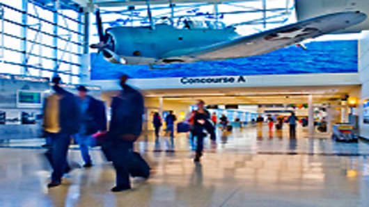 Concourse of Midway Airport in Chicago.