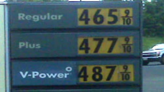 Gasoline prices in Kilauea, Kauai as seen on May 4, 2011.