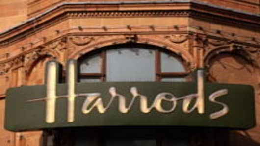 An exterior view of Harrods department store in Knightsbridge in London, England.