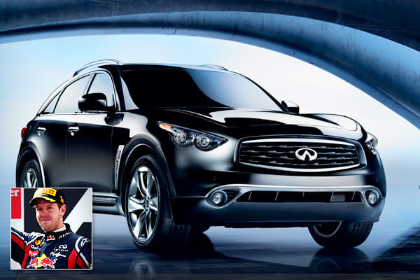 Known personal vehicles: Infiniti FX50At 23, German Formula One world champion Sebastian Vettel is the youngest driver to earn the title. His driving associates include Julia and Kate, Kate's Dirty Sister, Luscious Liz, Randy Mandy, and Kinky Kylie—all names of his cars.