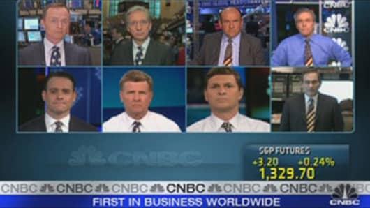 CNBC Anchors wearing American flag ties.