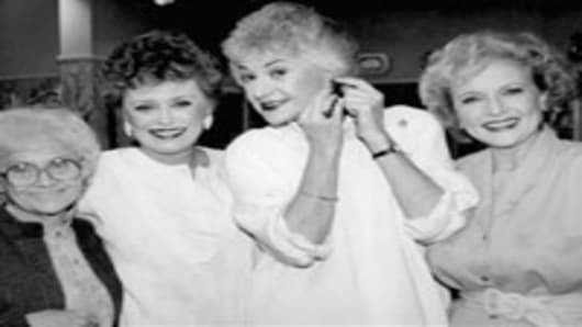 "Estelle Getty, Rue McClanahan, Bea Arthur and Betty White, from ""The Golden Girls"" tv show."