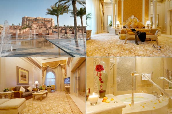 "Location: Abu Dhabi, United EmiratesPrice per night: approx. $3,500 – $12,000Size: approx. 2230 square feetFeatures: Three king beds, a huge balcony, oversized marble bathrooms with Jacuzzi, private elevator opening into the suite, daily fresh flower arrangements and a 24-hour butler, in all, a ""private palace within the Palace."" Emirates Palace also offers a  deal."