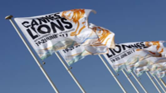 A picture taken on June 21, 2011 shows the official flags of the 58th edition of the International festival of creativity, Cannes Lions on June 21 2011, in Cannes on French riviera. AFP PHOTO / SEBASTIEN NOGIER (Photo credit should read SEBASTIEN NOGIER/AFP/Getty Images)