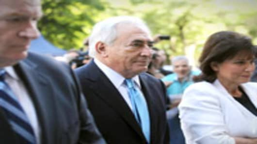 Former International Monetary Fund leader Dominique Strauss-Kahn enters New York State Supreme Court for a hearing on July 1, 2011 in New York City.