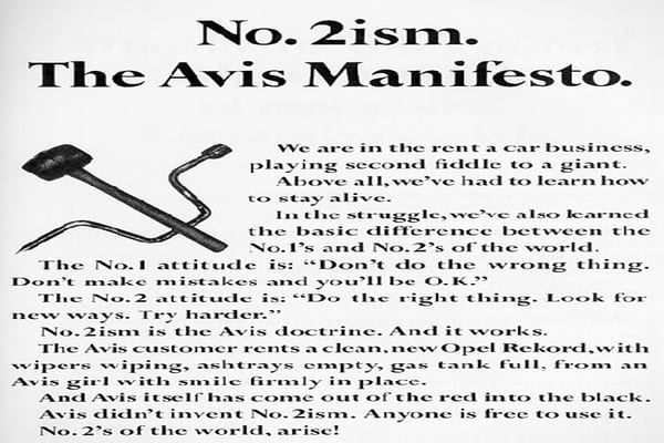 """Year: 1963 Agency: Doyle Dane Bernbach As Avis says on its Website, """"The phrase  has gone down in advertising history as one of the longest-lasting and respected taglines. The origination of the slogan was not to create a cute, gimmick, but instead it was — and is — a business philosophy that every Avis employee holds true. 'We Try Harder' has helped Avis earn a reputation as one of the most admired businesses in the world."""" Source: AdAge.com, Avis.com"""