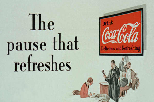 "Year: 1929Agency: D'Arcy Co. ""I've always admired brands that preserve their core campaign for decades,"" wrote independent ad counsel Chris Macrae in  ""Coca-Cola provided a stunning example with ""Pause that Refreshes"" USA 1930s to 1950s ( uplifting a nation at time of depression, championing a product which literally fuelled -emotionally and physically — what was then a developing nation, lobbying the US war office on the extreme fatigue of war and thereby becoming the GI's mascot during World W"