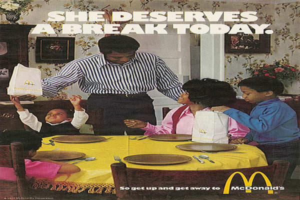 Year: 1971Agency: Needham, Harper & SteersRonald McDonald, the true icon of the McDonald's brand, hasn't been in every single ad campaign. The fast-food chain turned their attention to busy consumers in this 1971 campaign, focusing on the ease with which a McDonald's meal could be obtained.Source: AdAge.com