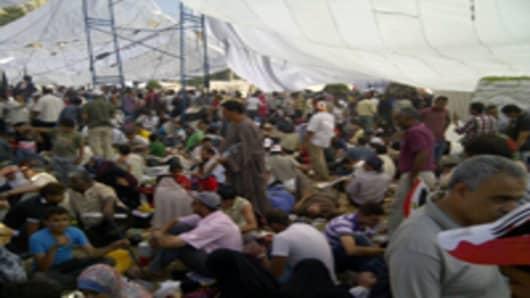 Inside a tent inb Tahir Square