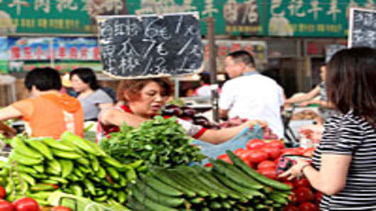 Vegetable market in Zhengzhou, Henan Province of China
