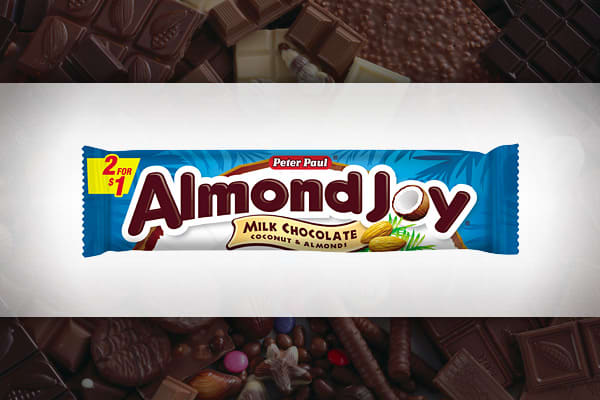Revenue Generated: $60.8 million Unit Sales: 62.2 million Peter Paul Candy Manufacturing, which was established in 1919, didn't invent the Almond Joy bar until 1946. Designed as the nuttier sibling to Mounds, it's made of sweetened coconut, topped with two almonds and covered in dark chocolate. Cadbury purchased Peter Paul in 1978 and Hershey bought the company's US operations in 1988.
