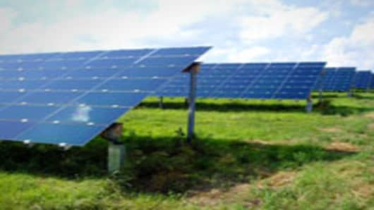 A First Solar (FSLR) solar photovoltaic plant. The firm is contracted with Pacific Gas and Electric (PCG) to provide 550MW of renewable electricity capacity by 2013.