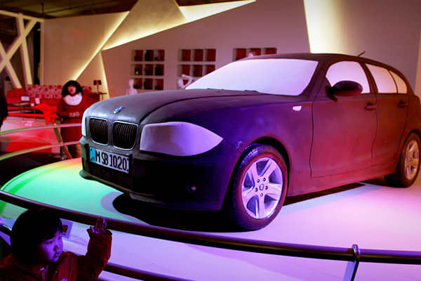 This delicious looking BMW was just one of many hunger-inducing attractions at the 2010 World Chocolate Wonderland in Beijing, China. Up to 80 tons of chocolate were used in making the displays, which also included a 33 foot long replica of the Great Wall and a mini-army of 650 chocolate replicas of the famous Terracotta Warriors.