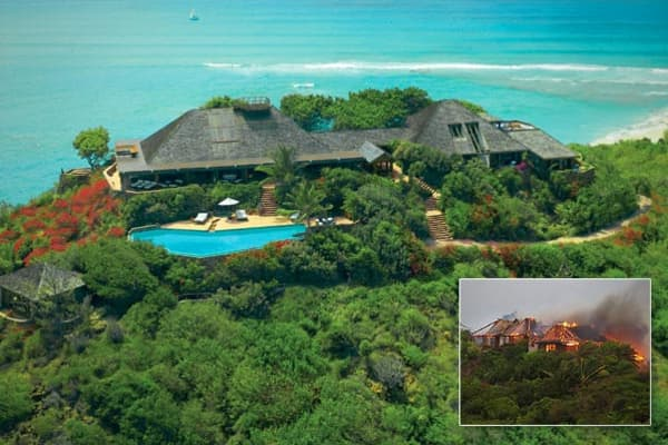 Location: Necker Island, British Virgin IslandsValue: from $54,500 per night for exclusive useBedrooms / Baths: 14 / unavailableSquare Footage: unavailableIf Sir Richard Branson's island retreat looks familiar, it may be because the charred version of its great house recently made news. Actress Kate Winslet, who was staying there, had to make an heroic escape from the escape home,  in the process.The compound, on a 74-acre island Branson has owned since 1978, is comprised of the great house and