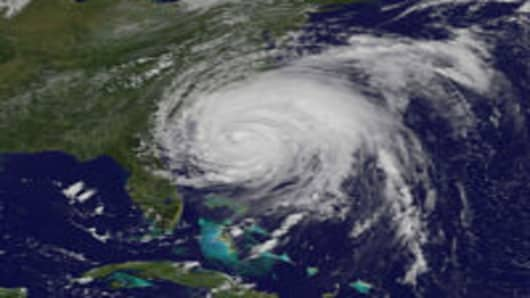 A Nasa image of the hurricane bearing down on the Carolina coast on August 26th afternoon.