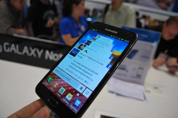 "Also launched at IFA 2011, the Galaxy Note has a 5.3 inch display, the largest screen size available among smartphones. This means less scrolling and screen transitions, Samsung says. PowerPoint presentations, web pages, news apps and e-books can be viewed with minimal scrolling or zooming, according to the company. The ""pen-input technology"", called the S Pen, allows users to draw and send handwritten images and notes via text message, email, and instant messaging."