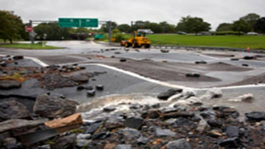 Off ramp to route 322 East severely damaged by flooding, Hershey, Pennsylvania