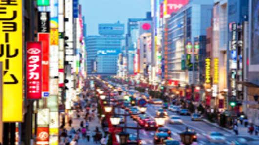 Brights lights of Chuo Dori and Ginza Tokyo, Japan