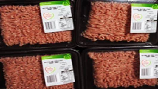 Packaged minced pork sold in supermarkets