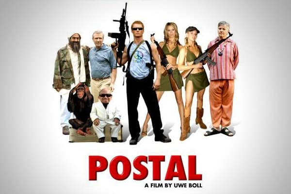 "Oh, where to start with this one? ""Postal,"" the game on which this film was based, was at the center of the recent U.S. Supreme Court battle about violence in video games. Verne Troyer (""Mini Me"" of ""Austin Powers"" fame) is thrown into a pit of chimpanzees to be sexually assaulted. The film's final shot shows actors dressed as George Bush and Osama bin Laden skipping through a field, hand-in-hand. And, in a cameo, the film's director — you guessed it…Uwe Boll — is shot in the groin. The worldwid"