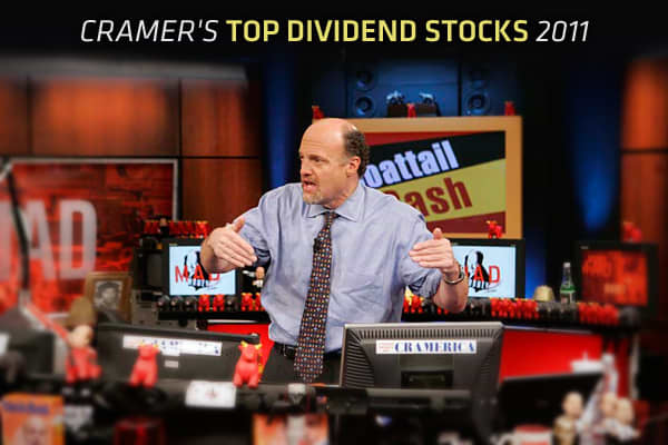 In chaotic and difficult market environments, Jim Cramer recommends investors seek the protection of stocks with serious dividends. After all, dividend-paying stocks pay investors to wait until the market calms and the economy improves.