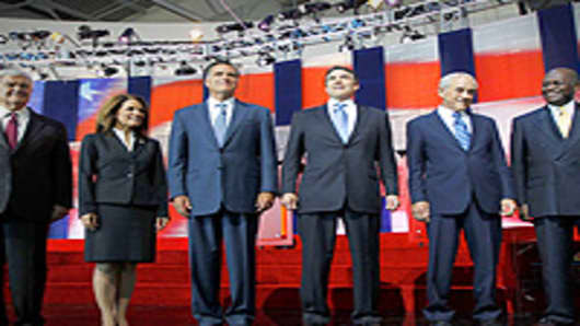 Republican presidential candidates stand together before a Republican presidential candidate debate at the Reagan Library, Simi Valley, California.