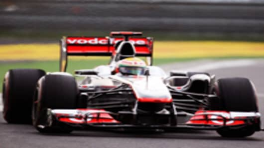 Lewis Hamilton of Great Britain and McLaren drives during a Formula One grand prix race.