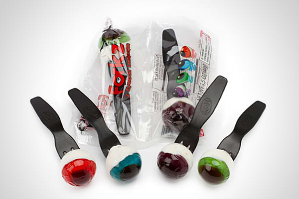 Company: Ban Dai Price: $19.80 for a 12-count box Although the thought of eating eyeballs is gross, there is no shortage of eyeball-themed candies. The ones pictured here put an interesting twist on the eyeball concept by using the fork as a stick to hold the lollipops, which come in strawberry and blueberry flavors. If you think the real gross-out factor in eyeball candy is its squishiness, you might want to opt for gummy eyeballs that have a more realistic look. For a Halloween party, you can