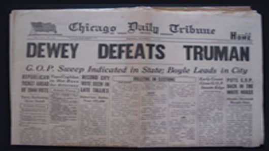 Dewey defeats Truman authentic newspaper
