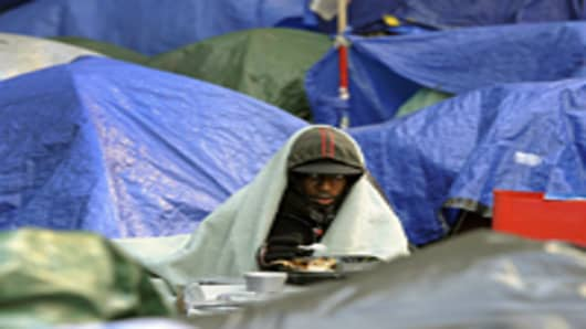 The encampment in the financial district of New York City is now in its second month.