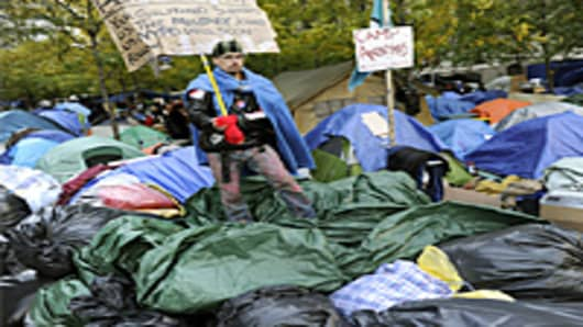 Demonstrators with 'Occupy Wall Street' continue their protest at Zuccotti Park in New York on November 4, 2011.
