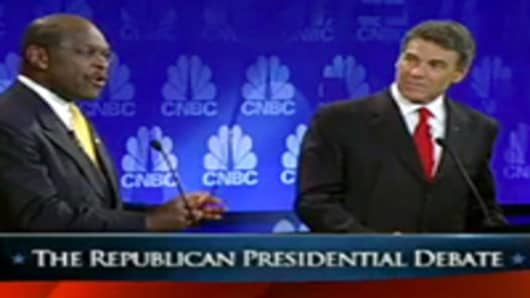 Herman Cain and Rick Perry at the CNBC GOP Debate