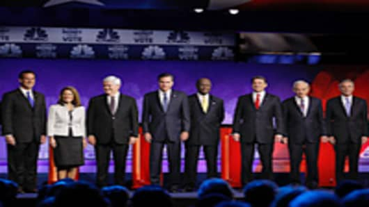 Candidates on stage at the CNBC GOP Debate.