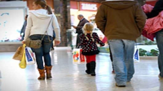 A family seen shopping at the Cherry Creek Shopping Center in Denver, Colorado.