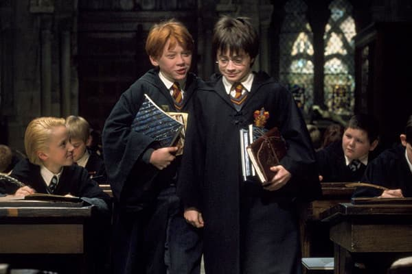 "Inflation-adjusted worldwide gross: $1.25 billion Actual gross: $974.76 million Year released: 2001 Published in 1997 by British author J.K. Rowling, ""Harry Potter and the Sorcerer's Stone,"" the first film in the series, is about a boy named Harry Potter who discovers that he is a wizard. The success of that first book in the series led to six additional novels. Warner Brothers gained the film rights, and had immediate success and fanfare with the first movie in 2001, pulling in an inflation-adj"