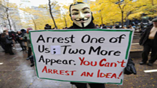Occupy Wall Street activists clashed Thursday with workers and police outside the New York Stock Exchange, prompting more than 100 arrests.
