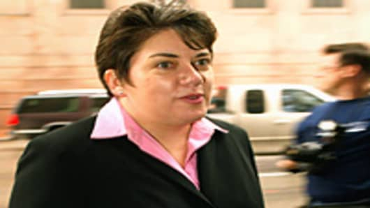 Leslie Caldwell, head of the Justice Department's Enron Task Force, enters the Federal Courthouse in Houston, Texas January 8, 2004.