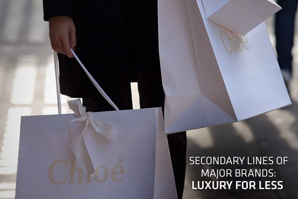"This holiday season, with uncertainty prevailing in the global economy, shoppers may be searching for cheaper alternatives to the high-end fashion houses, while still wanting to retain a feel for their favorite brands. Luxury fashion houses are tapping into this sentiment through less expensive, secondary lines that allow them to reach out to a wider, younger consumer, without compromising their reputation. The ''main line'' or '""first line,"" which establishes the brand, is usually much pricier"